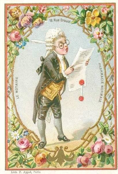 Le notaire en chromos (fin XIXème siècle)