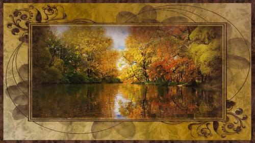 fond automne lac
