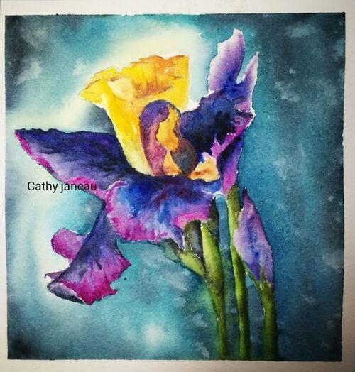 carte aquarelle iris