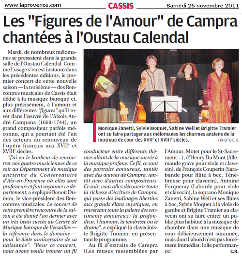 Cassis : Les figures de l'amour de Campra chantées à l'Oustau