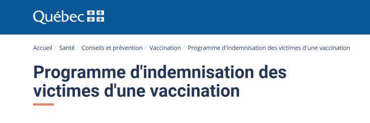 programme quebécois d'indemnisation des victimes d'une vaccination