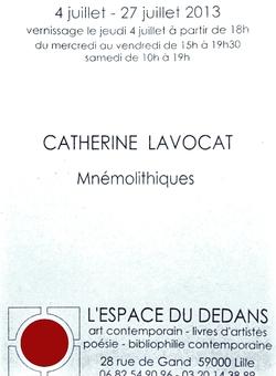 """""""Mnémolithiques"""" du 4 au 27 juillet 2013"""