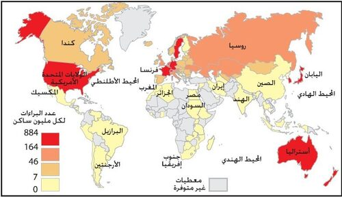 توزيع براءات الاختراع عبر العالم