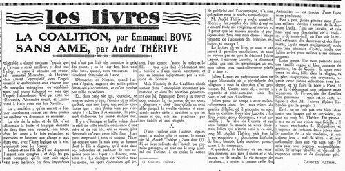 André Thérive, Sans âme (L'Humanité, 5 fév. 1928)