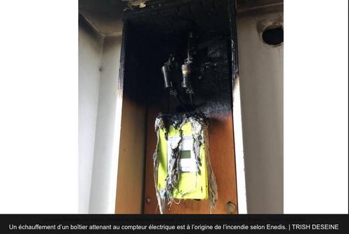Moncé-en-Saosnois : Feu de compteur électrique (LINKY) dans une cuisine