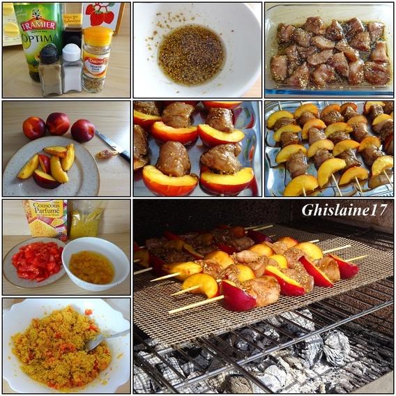 Brochettes de poulet aux nectarines