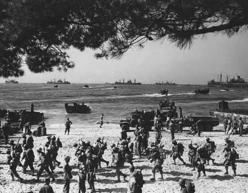 Parcours de la 1ère D.F.L - Etape n° 1 : Débarquement à Cavalaire les 16 et 17 Août 1944