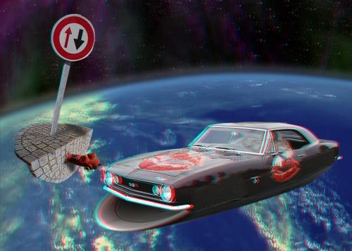Une voiture dans l'espace
