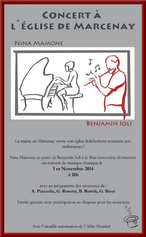 Un concert aura lieu dans l'église de Marcenay le 1er novembre....