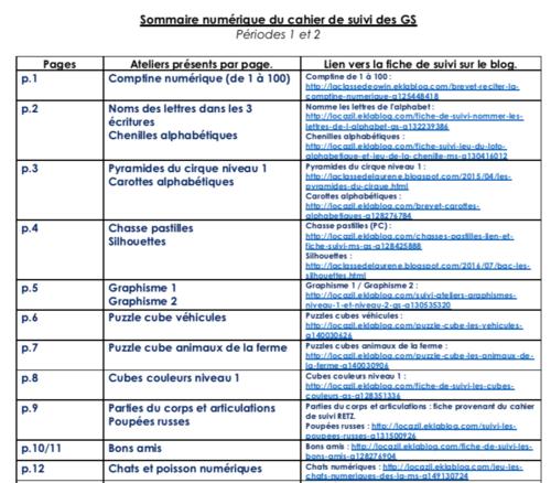 Sommaire numérique du cahier de suivi des GS
