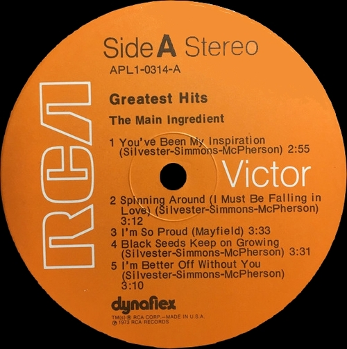 "The Main Ingredient : Album "" Greatest Hits "" RCA Victor Records APL1-0314 [ US ]"