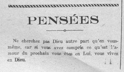 Pensées - Vous vivez en Dieu (Le Fraterniste, 15 janvier 1927)
