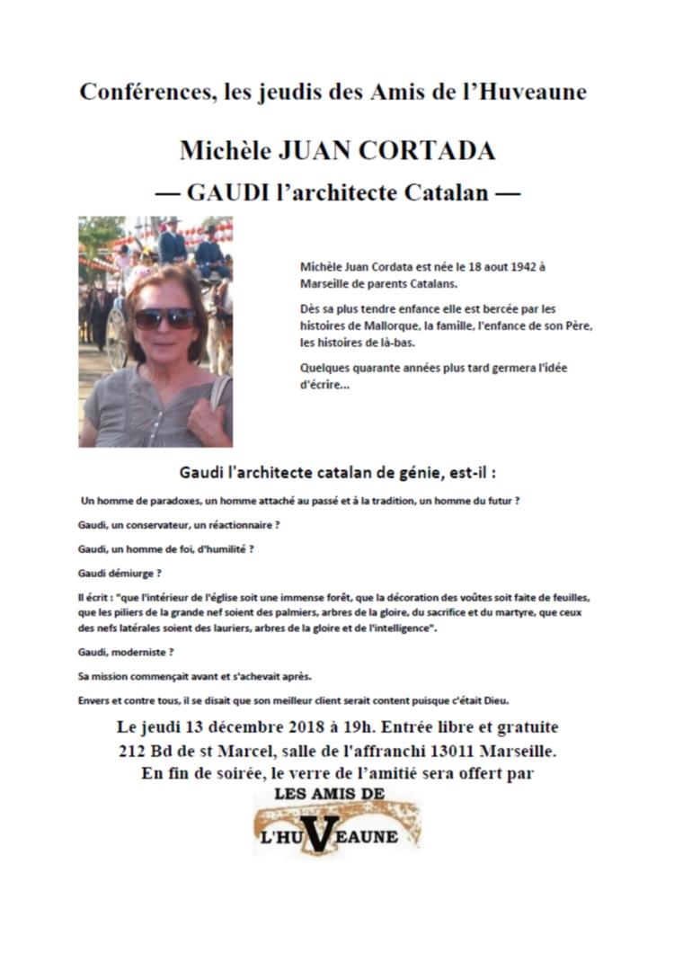 Conférence, Gaudi, par Michèle Juan Cortada