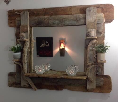 Miroir en bois flotté 120 cm