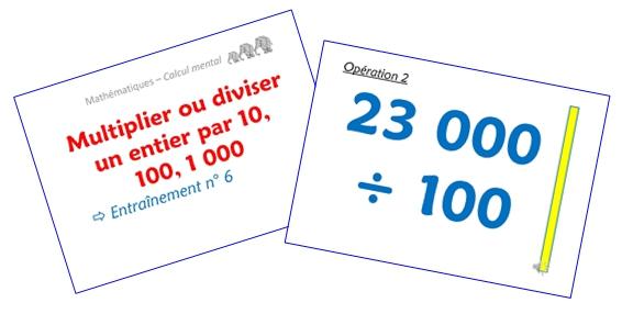 Multiplier ou diviser un entier par 10, 100, 1 000 (diaporamas)