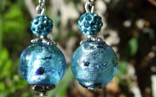 Boucles d'oreilles fantaisie en verre turquoise