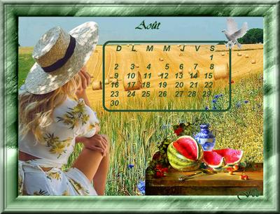 Calendrier du mois d'août