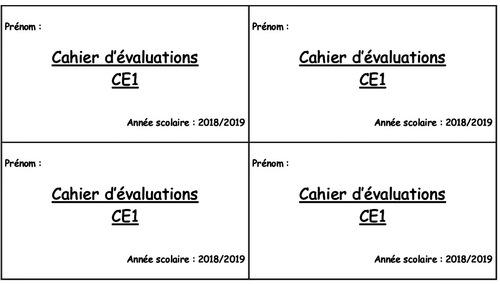 Page de garde cahier d'évaluation CE1
