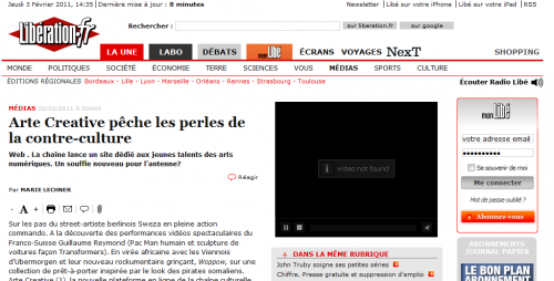 Arte creative vu par Libération