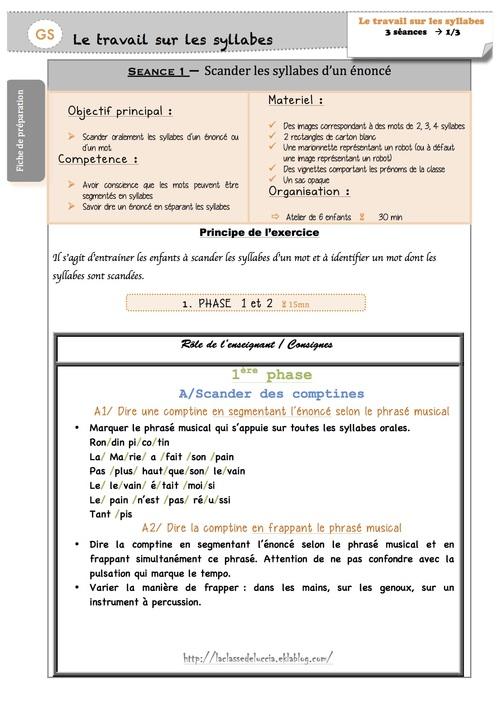 Fiches de préparation sur les syllabes
