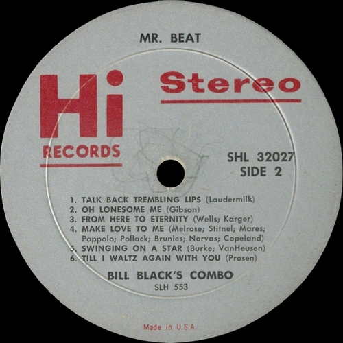 "Bill Black's Combo : Album "" Mr. Beat "" Hi Records SHL 32027 [ US ]"
