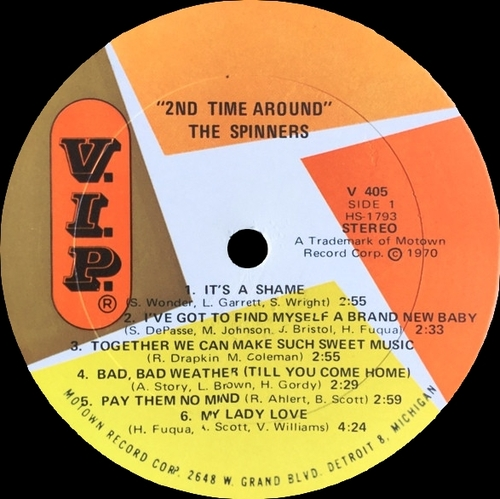 "The Spinners : Album "" 2nd Time Around "" V.I.P. Records VIPS-405 [ US]"