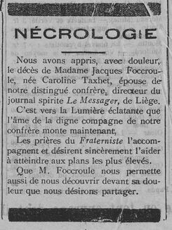 Nécrologie Madame Jacques Foccroule (Le Fraterniste 30 novembre 1911)