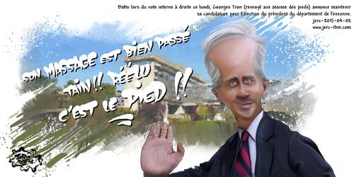 Dessin du jour de JERC du jeudi 2 avril 2015 Georges Tron (renvoyé aux assises pour l'affaire des pieds) annonce maintenir sa candidature pour l'élection du président du dépwww.facebook.com/jercdessin