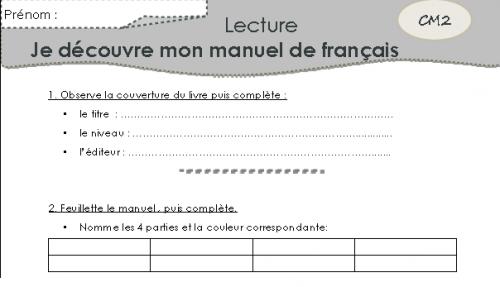 Découvrir son manuel de français et de mathématiques