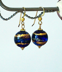 Boucles Verre de Murano Authentique Bleues Cobalt,  Feuille d'Or / Plaqué Or Gold filled
