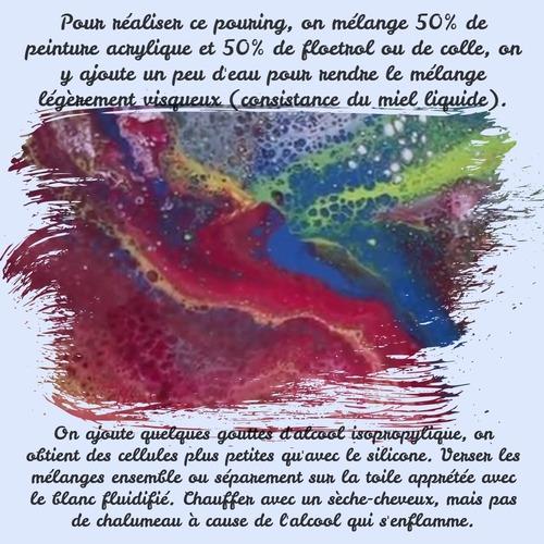 Dessin et peinture - vidéo 3434 : Comment réaliser de belles cellules avec de l'alcool isopropylique (pouring méthode) ? - peinture abstraite à l'acrylique.