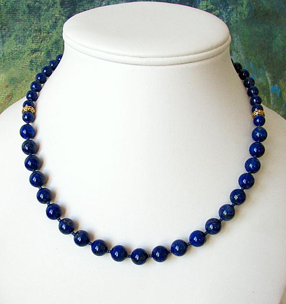 Collier Pierre de Lapis Lazuli naturel / Plaqué Or et Vermeil