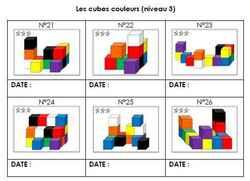 Cubes couleur niveau 3 : fiche de suivi GS