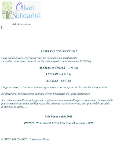 La collecte de la Banque Alimentaire - vendredi 24 novembre