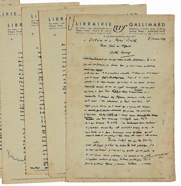 """""""Pour une trêve civile en Algérie"""". Manuscrit de dix pages à en tête de la N.R.F., dédicacé aux époux Sintès, le 21 janvier 1956"""