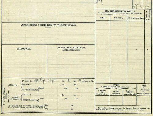 Registre matricule Ephrem Pannetier