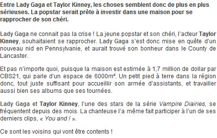 Lady Gaga cherche un appartement avec Taylor Kinney !!