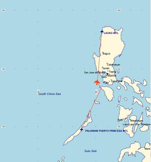 Plan de vol du jour : Puerto Princesa-Laoag (Philippines)
