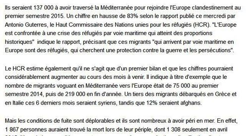 Migrants en Méditerranée/bilan du 1er semestre 2015