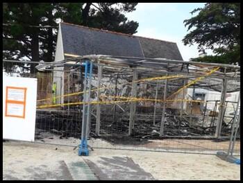 Centre nautique du Cap-Coz touché par le feu