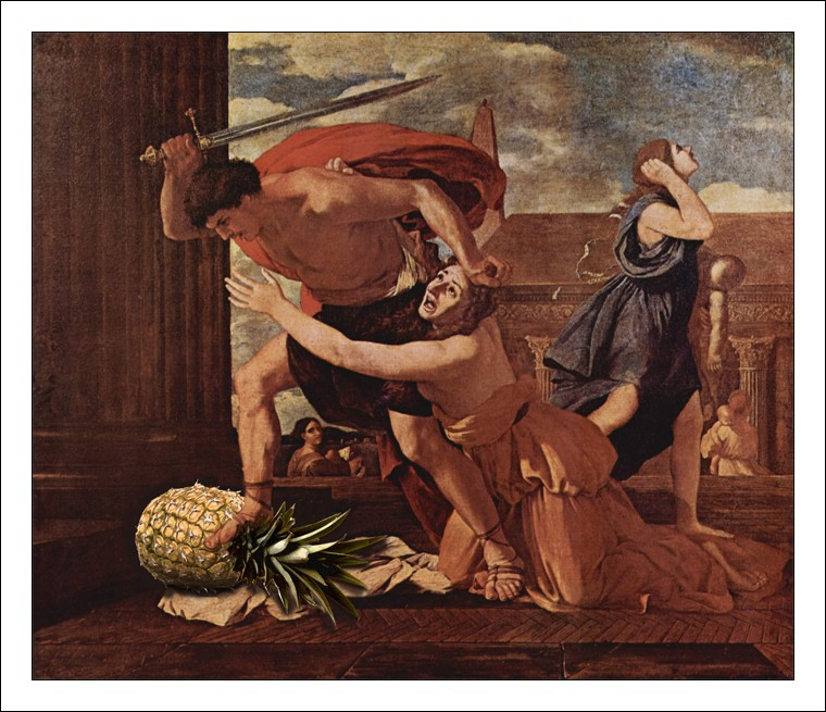 Poussin, ananas, épée, sacrifice,couper