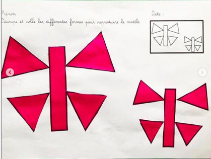 Le papillon découpage et assemblage de formes