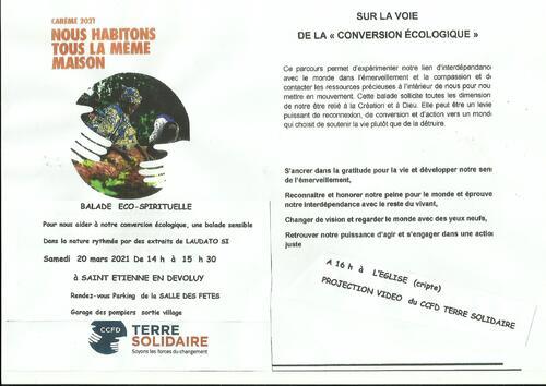 """Une Balade """"Eco-Spirituelle"""" à St Etienne en Dévoluy ce Samedi 20 Mars 2021-14h00 à 15h30"""