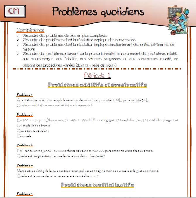 Les Problemes Au Cm2 L Ecole De Lilai