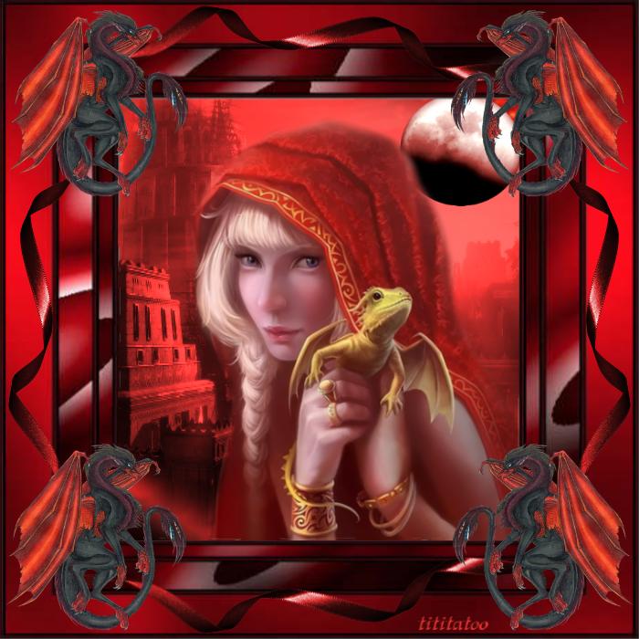 défi à la carte dragon, femme à la tresse