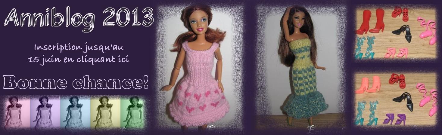 Tricot Barbie: Robe de soirée n°4 et son châle