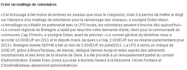 Le Télégramme - Le 09/02/2012