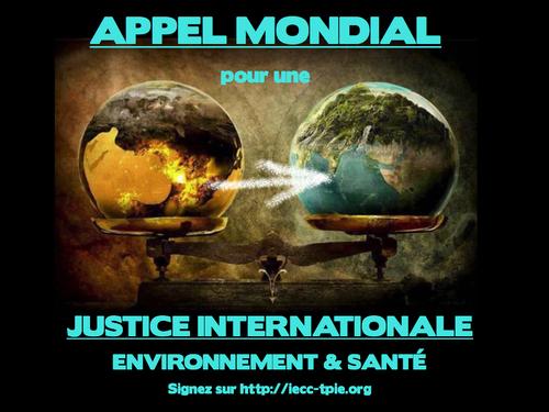 Appel pour la création d'une Cour Pénale Internationale de l'Environnement et de la Santé, maintenant !