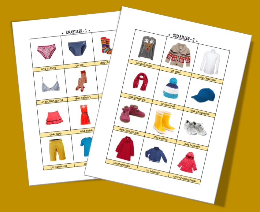 Imagier et cartes : s'habiller