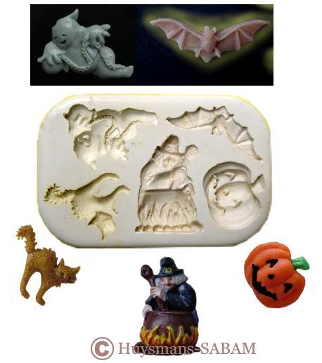 Moule pour loisirs créatifs Halloween: fantôme, sorcière, potiron, chat, lune et chauve-souris en relief - Arts et sculpture: sculpteur, artisan d'art